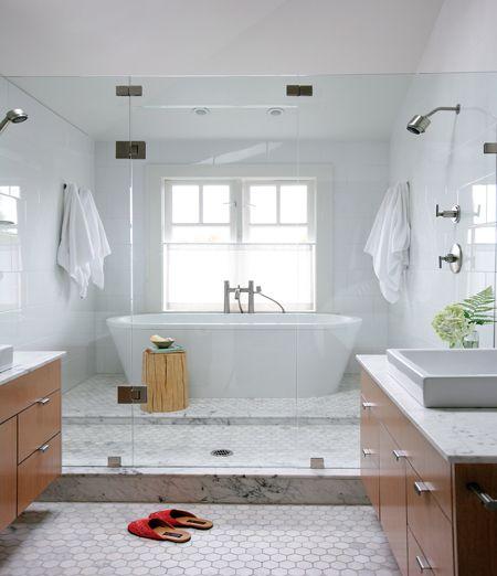 Modern Wet Room, white modern bathroom, floating white oak bathroom cabinets
