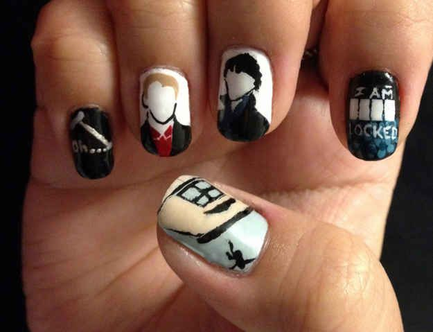 Sherlock . | 29 Examples Of Marvellously Geeky Nail Art