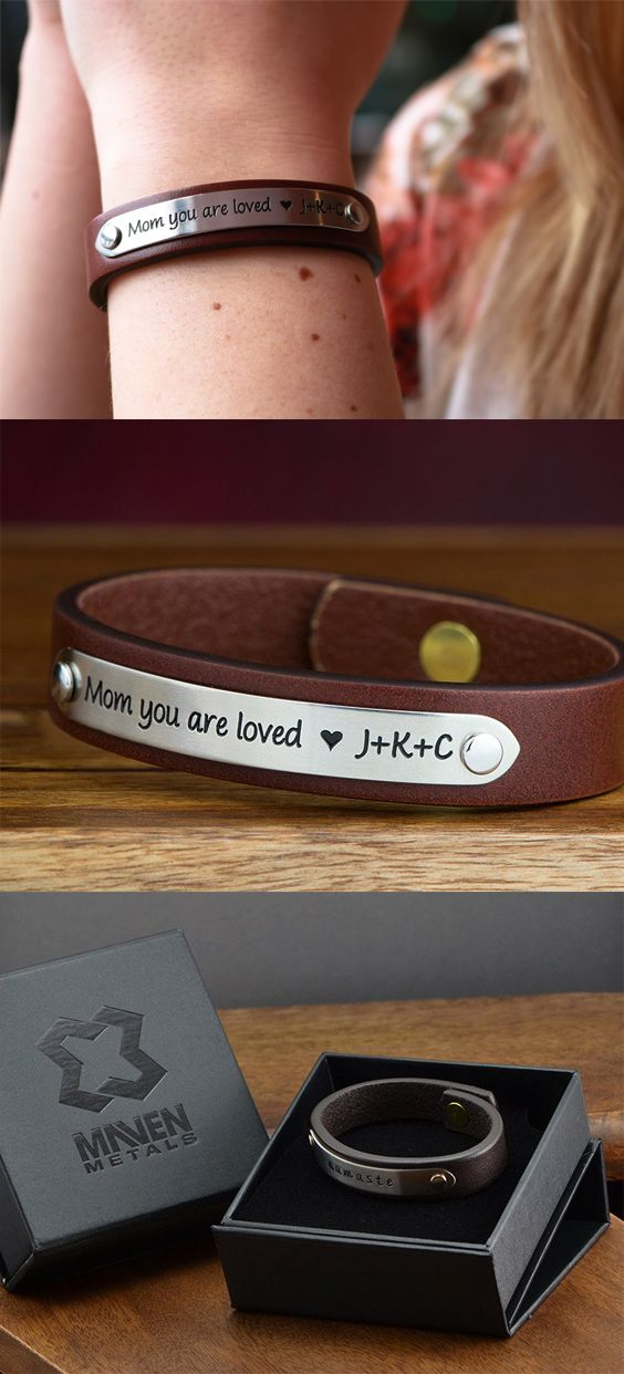 Mom you are loved personalized leather bracelet. Engraved with initials this is the perfect gift for your Mom on Mother's Day. For moms, moms to be, and grandmas. #personalized #leatherbracelet #engraved #mothersdaygift #moms #momstobe #grandmother #grandma #youareloved