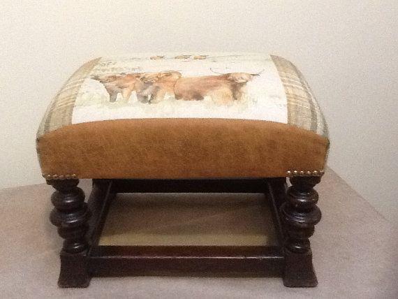 Handmade vintage stool/ footstool highland by DropDeadGorgeousUK