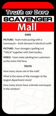 Teen Scavenger Hunt Idea at the department stores - really good idea!