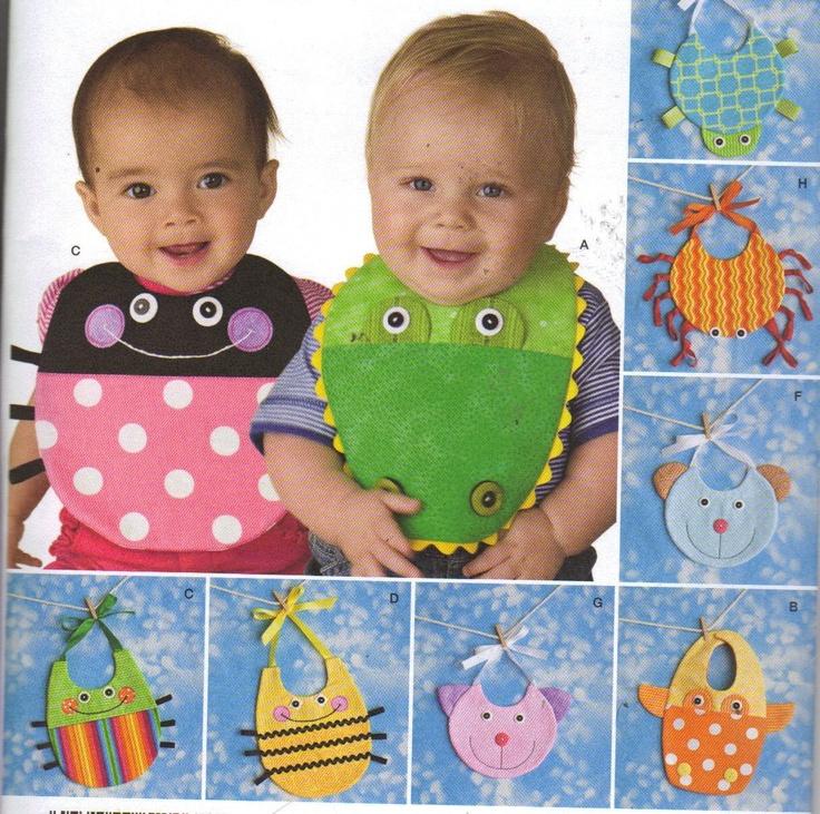 Baby Bibs Patterns, 9 different, lady bug, bee, turtle, alligator, etc. $5.99, via Etsy.