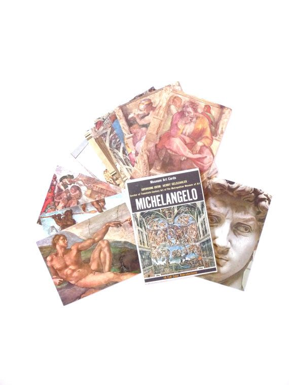 Vintage New Museum Art Cards the Art of Michelangelo
