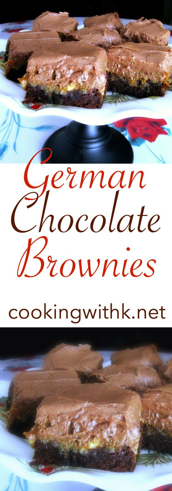 German Chocolate Brownies, a German sweet chocolate bar in the brownie layer topped with a gooey coconut pecan layer and frosted with a luscious chocolate frosting.  A decadent dessert for the holidays!