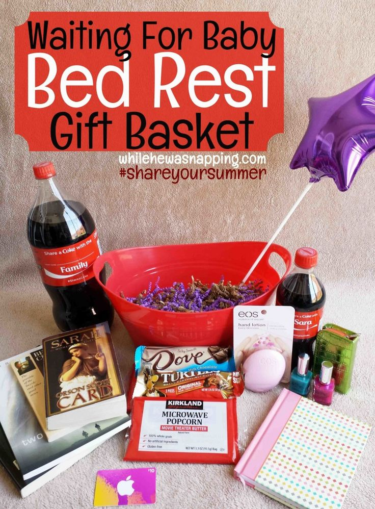 """Coca Cola Gifts >> Waiting for Baby Bed Rest Gift Basket   Get """"Pin""""spired with Crafty Bloggers   Bed rest, Bed ..."""