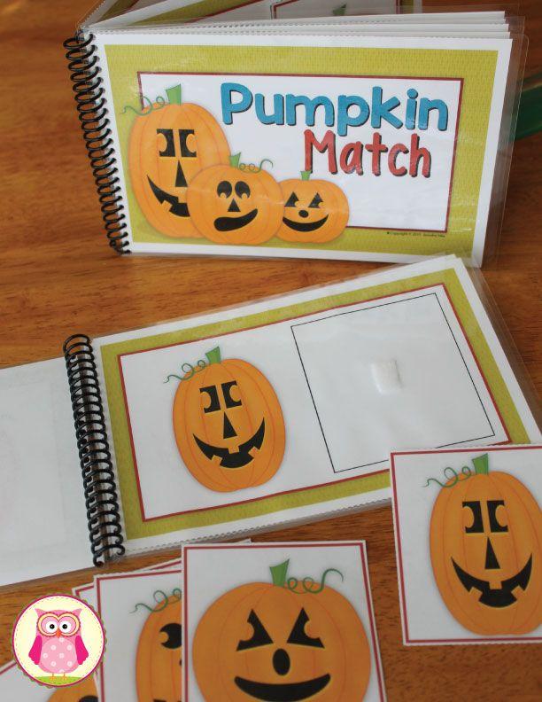 Jack-o-lantern matching activity can be bound into a book.  A great busy bag activity. https://www.teacherspayteachers.com/Product/Halloween-Activities-Pumpkins-Matching-for-Preschool-and-ECE-2105658