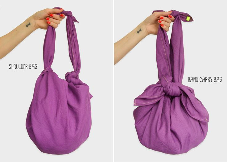 A square cloth knotted in different ways to make 4 different carrying bags~! I LOVE this idea for carrying fruits and veggies at the market...lay the cloth on the seat of the cart, fill with fruits and veggies, and tie into a bag after checkout~!