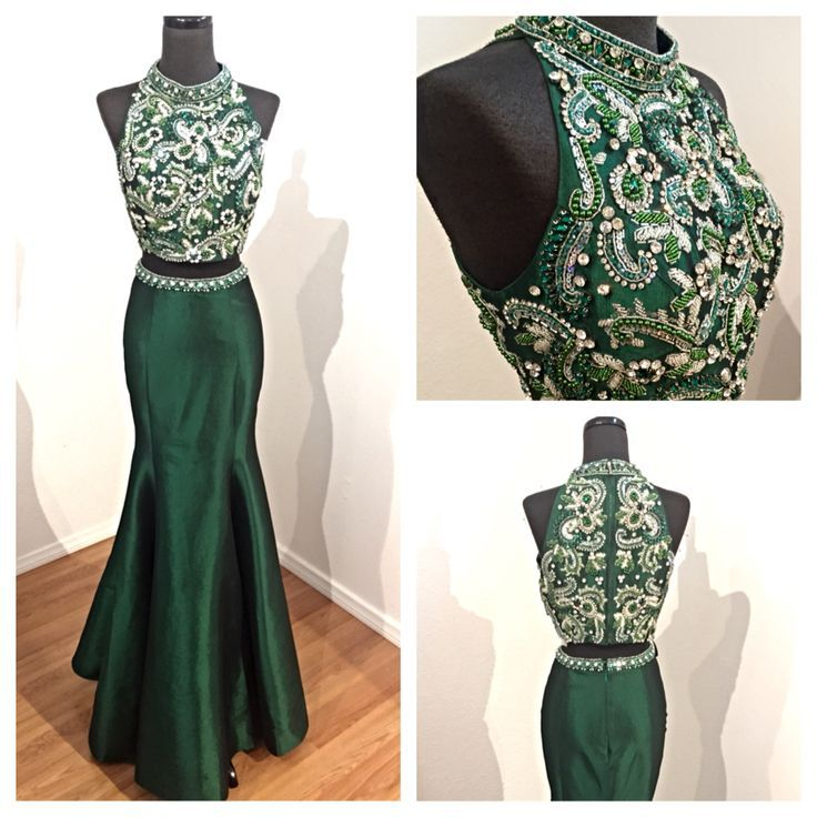 2017 Custom Made Charming Dark Green Two Pieces Prom Dress, Beading Evening Dress, Sexy Halter Prom Dress