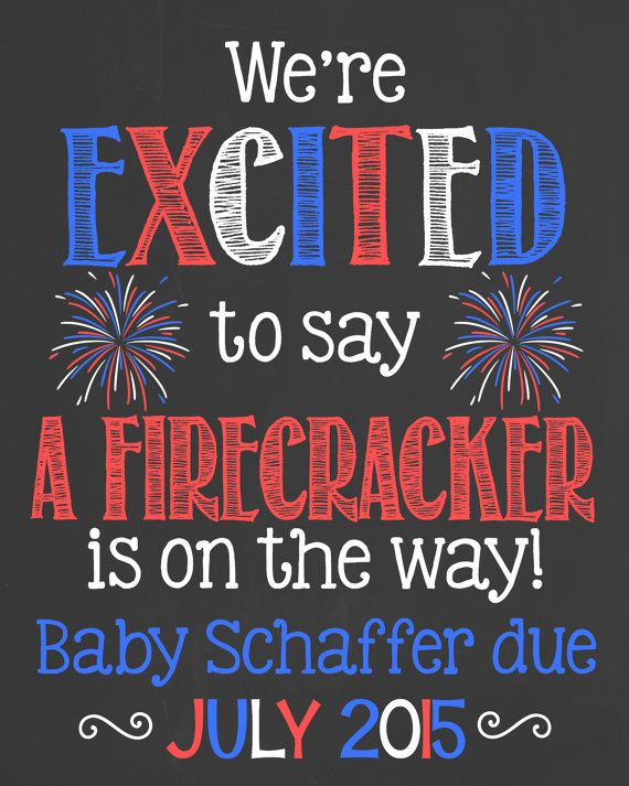 Fourth of July Pregnancy Announcement by PersonalizedChalk on Etsy
