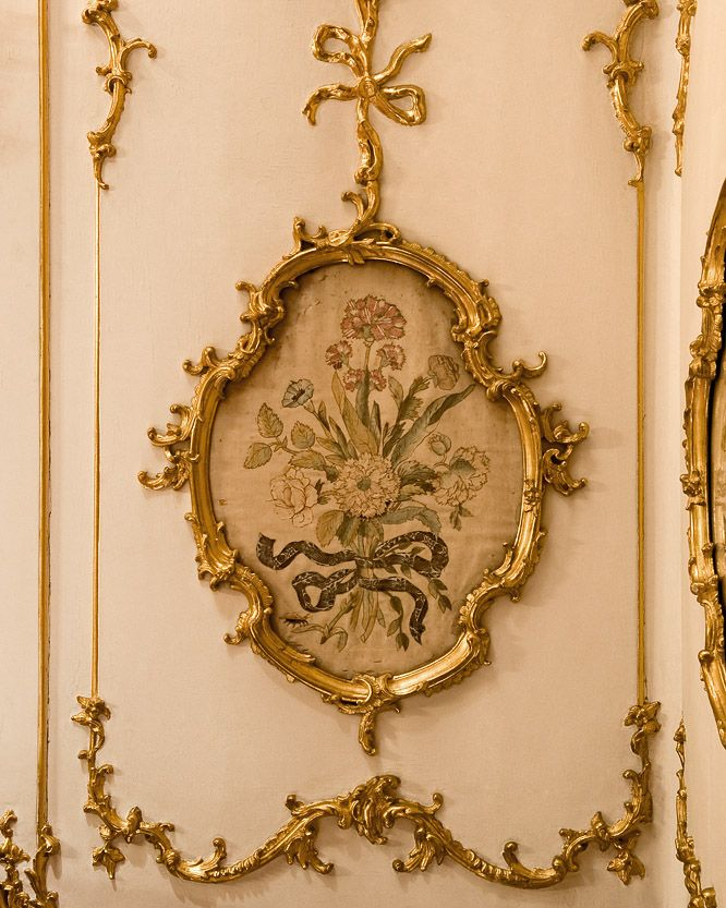 """Detail of the wall paneling in The """"Breakfast Room"""" in Schönbrunn Palace, Vienna, Austria"""