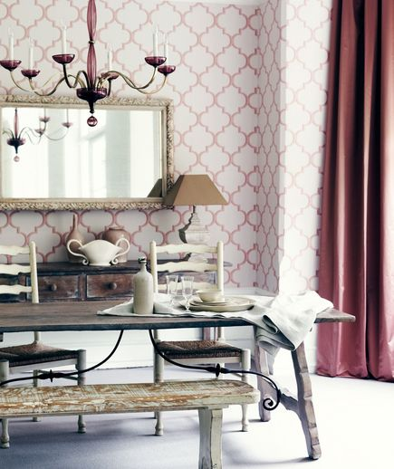 Drama Class  A floor-to-ceiling, graphic wallpaper steals the show, while lush curtains and a rosy chandelier add feminine (but not too precious) touches. Well-worn wood furniture gives a bit of a rough edge to this pretty pink room.