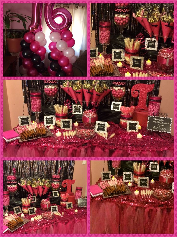 By Angie's Special Events and Balloons.  Sweet 16 party.  Colors:  hot pink, black & silver