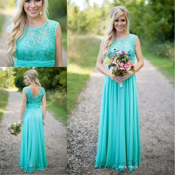 2016 New Arrival Turquoise Bridesmaid Dresses Cheap Scoop Chiffon Floor Length Lace V Backless Long Maid Of Honor Gowns For Country Wedding Yellow Bridesmaid Dresses Blue Bridesmaid Dresses From Nameilishawedding, $70.36| DHgate.Com