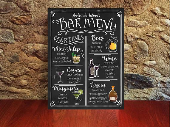 18x24 Custom Bar sign Bar Menu Chalkboard Wedding sign