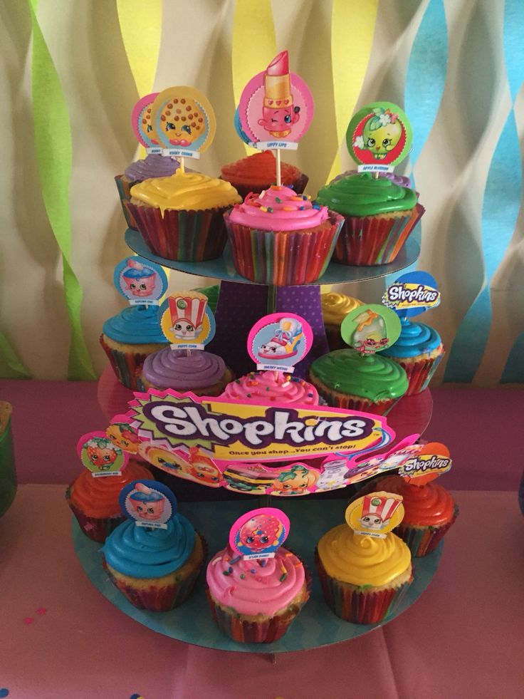 Shopkins Cupcakes -Super Easy and Cute (DIY Cupcake Toppers-colored card stock and Shopkin print out)