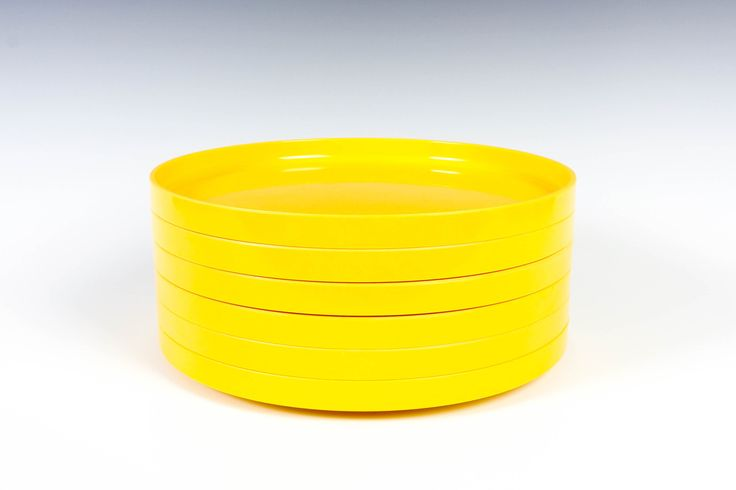6 Heller Yellow Dinner Plates  - Melamine - Designed by Massimo Vignelli - Set of 6 by ThePapers on Etsy