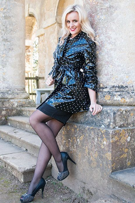 Black and white polka dot PVC coat worn with black skirt, tights and pumps.. DIY the look yourself: http://mjtrends.com/pins.php?name=polka-dot-pvc-for-coat