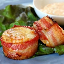 Bacon- Wrapped Scallops with Spicy Cilantro Mayonnaise