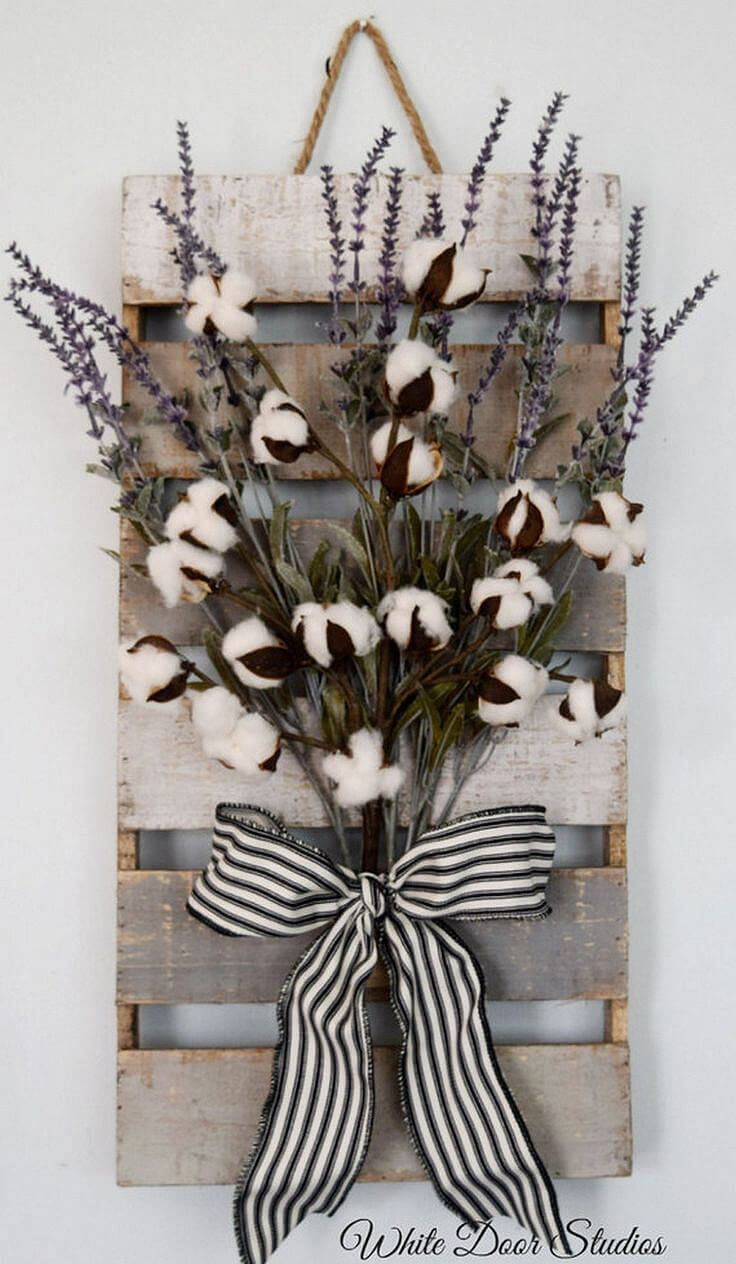 Wood Pallet and Cotton Art