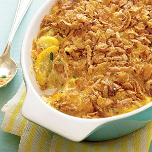 Lightened Squash Casserole -with canned French Fried Onions.  I used real cream that I had from something else and bran flakes instead of corn flakes, delicious!