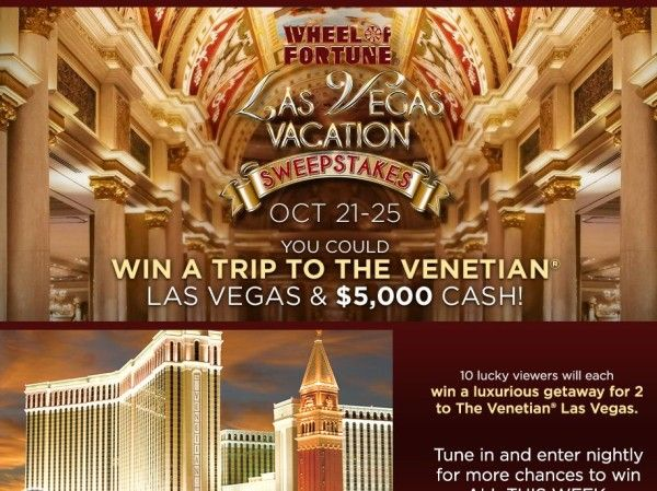 Enter the Las Vegas Vacation Sweepstakes for a chance to win 1 of 10 4-night trips for two to Las Vegas, NV!