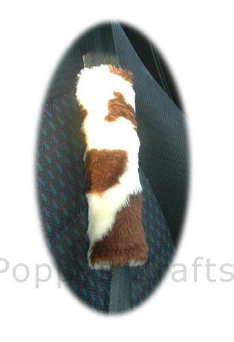 cow seatbelt pads brown cream print furry faux fur fluffy fuzzy car covers 1 pair moo patch cows farm