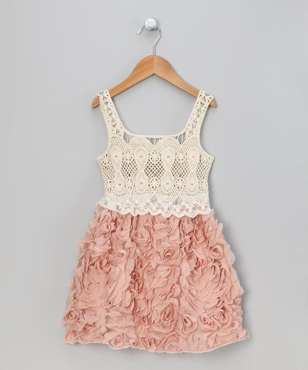 This would be pretty for a photo session! Take a look at this Rose Pink Crocheted Petal Dress - Toddler & Girls on zulily today!