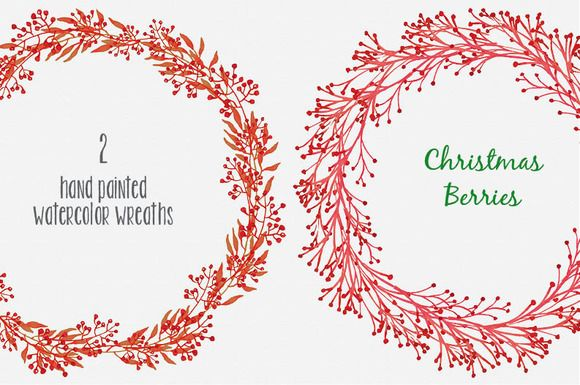 Christmas red berry wreaths: Pair I by Lolly's Lane Shoppe on Creative Market