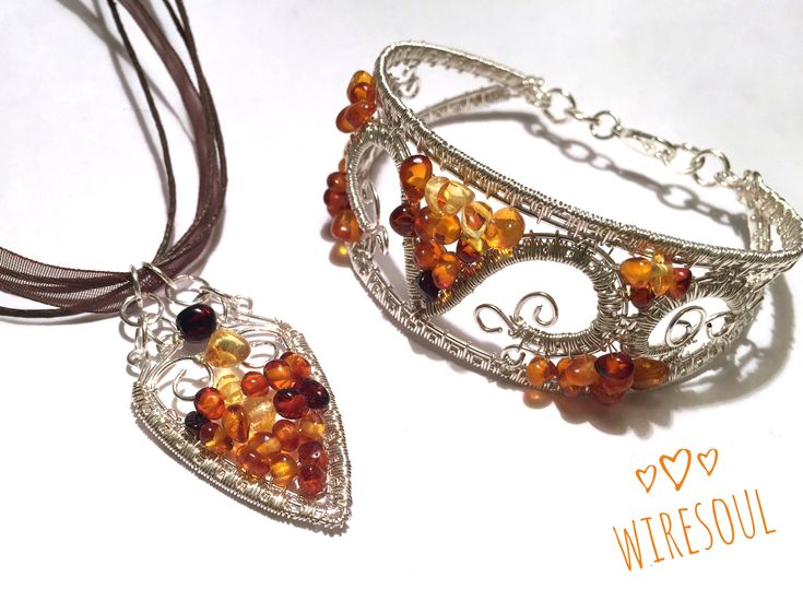 Wire wrapped jewerly, wire wrapped pendant, wire wrapped bracelet, amber