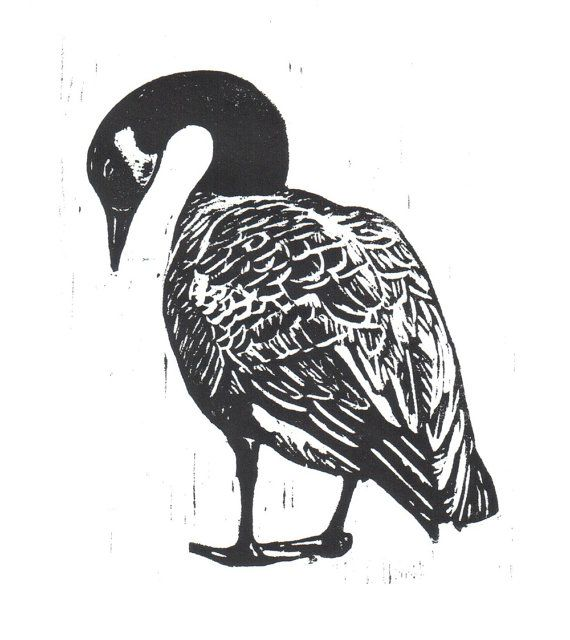 Canadian Goose Woodcut by LibrarianArtist on Etsy