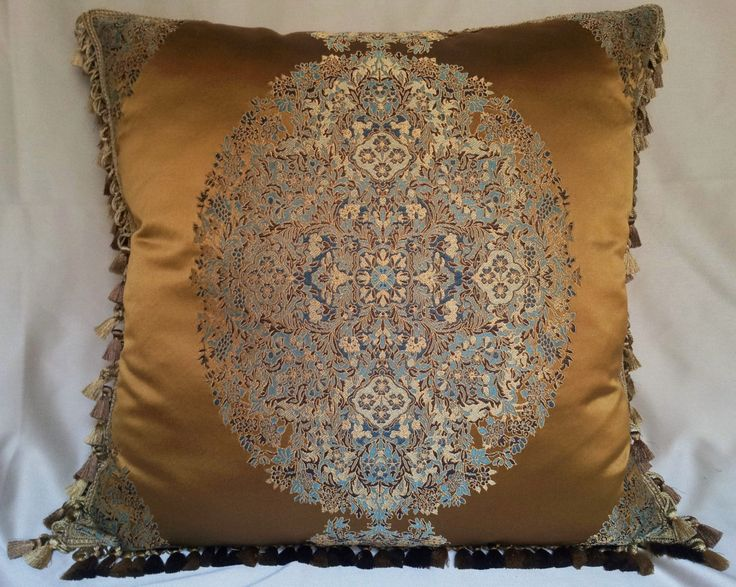 """24"""" x 24"""" Decorative Pillow Case with Samuel and Sons Tassel Trim Silk Lampas Rubelli Fabric Brass Sherazade Pattern - Custom Made in Italy by OggettiVeneziani on Etsy"""