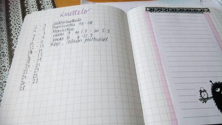 Changed the index pages to one page and the other page for notes etc.  Sisältö /luettelo lyheni yhteen sivuun kun on niin pieni vihko.. Ja toiselle sivulle voi kirjata Haisulille muistiinpanoja 😁