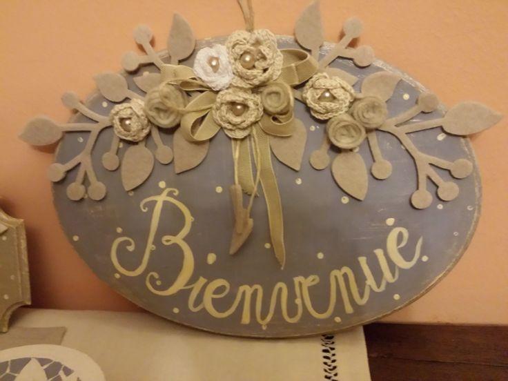 targa dipinta con fiori panno