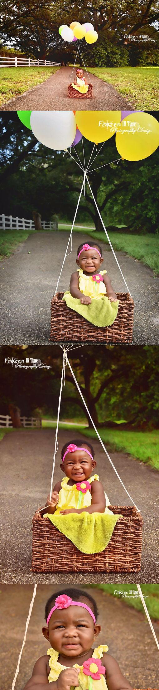 6 month old photoshoot, photo session, outdoor photography, balloon, hot air balloon, balloons, woodland, girl, kid, child, toddler, photo ideas, park, six months