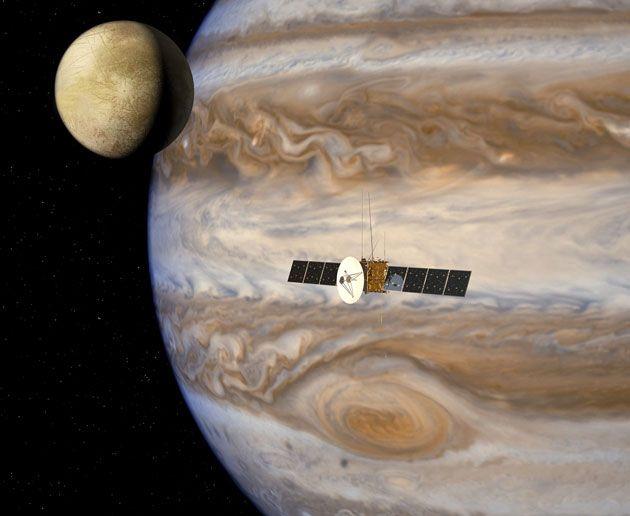 """Von der eruopäischen Jupiter-Sonde """"Juice"""" erhoffen sich Forscher ab 2030 Hinweise auf mögiches Leben auf den Jupitermonden Europa, Ganymed und Kallisto."""