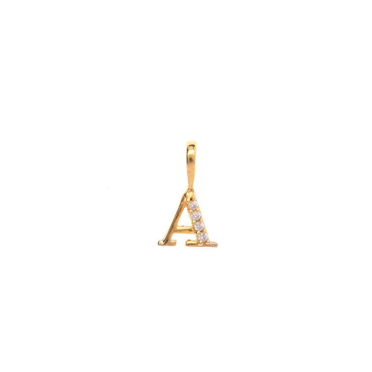 Gold initial 'A' pendant