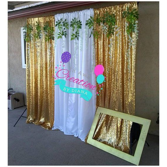 Sequin And White Backdrop Stand With Artificial Garland And