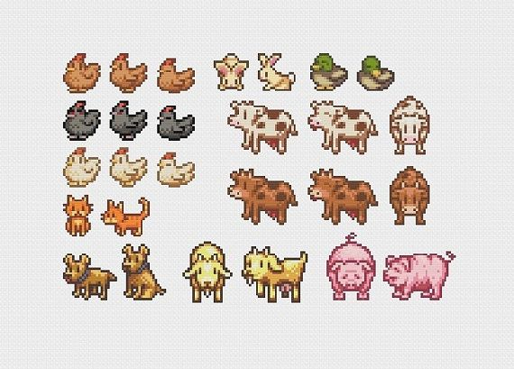 Stardew Valley Farm Animals Cross Stitch Pattern by evolvedxstitch $3