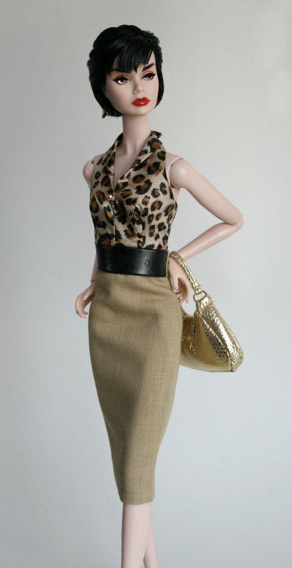 Khaki tan dress for Barbie Silkstone Fashion by ChicBarbieDesigns