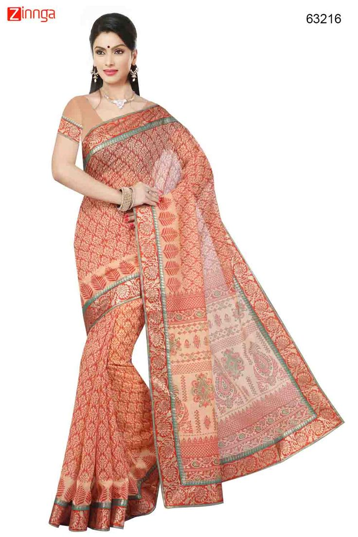 Brick Red Saree With Nice-looking Printed Pallu. Message/call/WhatsApp at +91-9246261661 or Visit www.zinnga.com