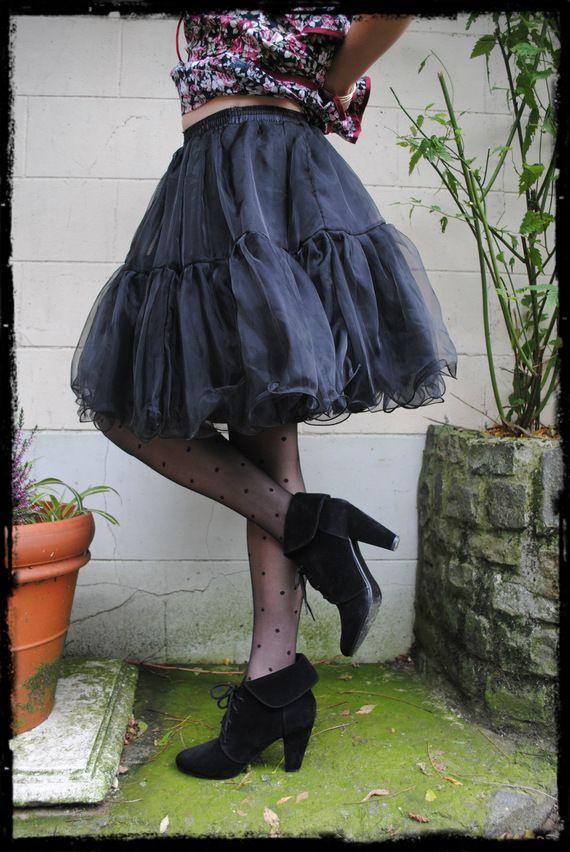"""Black #Petticoat – One Size (36-42) Jupon de couleur noire à porter sous une robe pour plus de volume. 100% organza (polyester) Taille unique, élastique cousu dans la ceinture qui permet de varier de la taille 36 à 42 Longueur: + ou – 40cm Couleur Noire NOUVEAU! Livraison désormais possible en point """"MONDIAL RELAY""""! Ce système est bien plus intéressant au point du vue des tarifs d'envoi s'il vous intéresse: 3,50€ pour la Belgique 6,97€ pour la France Pas..."""