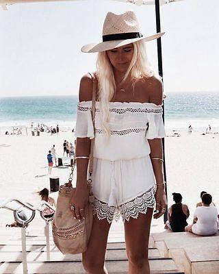 7a9a1f567f Hot Womens Mini Playsuit Ladies Jumpsuit Summer Shorts Beach Off shoulder  Lace Jumpsuit
