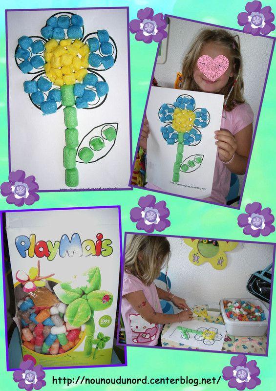Fleur réalisée par Axelle 7 ans avec des flocons de maïs