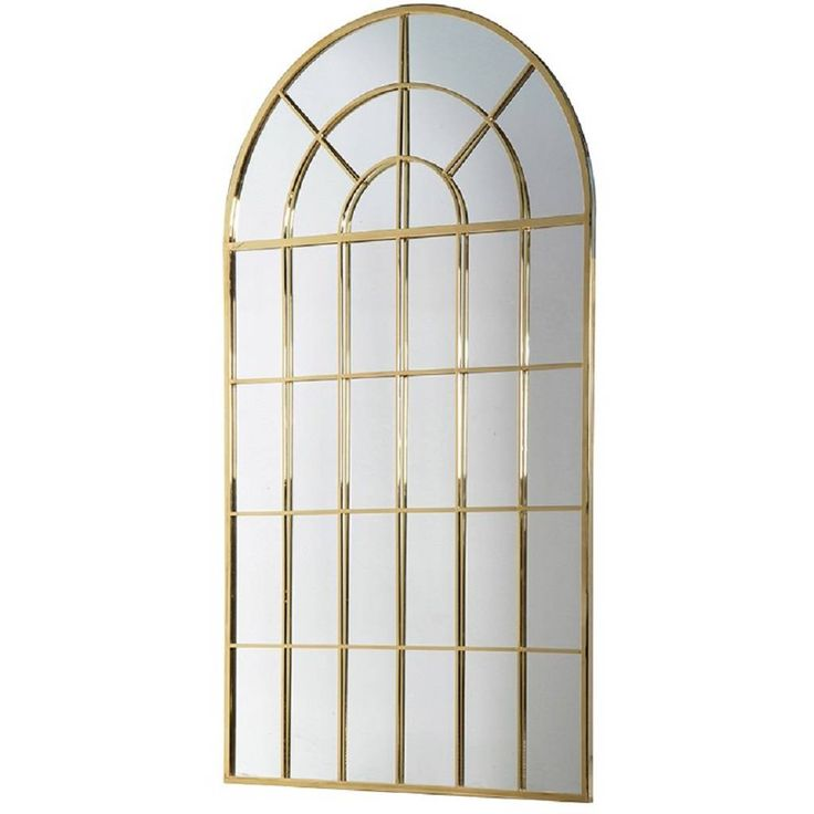 Gold Windowpane Oversized Wall Mirror
