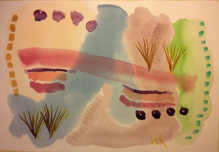 """This is """"Gabrielle and Wassily (for Awhile)""""  watercolor on 7""""x10"""" Arches hot pressed paper, MisFitisT abstract style - (c) 2016 Wes Rehberg"""