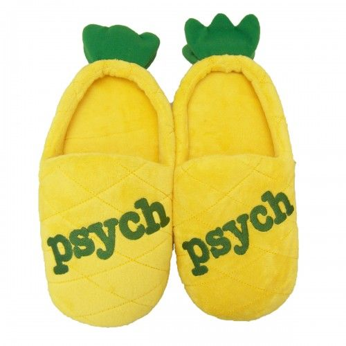 Psych Pineapple Slippers! If I don't have I will die! DIE! Hey guys- Februrary is here and to celebrate Psych's premiere on the 27th, I've created a board called the 28 Days of Exc-PSYCH-ment! Here's the link:http:/... Every day you have to find the pineapple in the posts and I put up pictures of Psych cast members, videos, and as soon as I can I'll put up a promo for the next season! Follow!