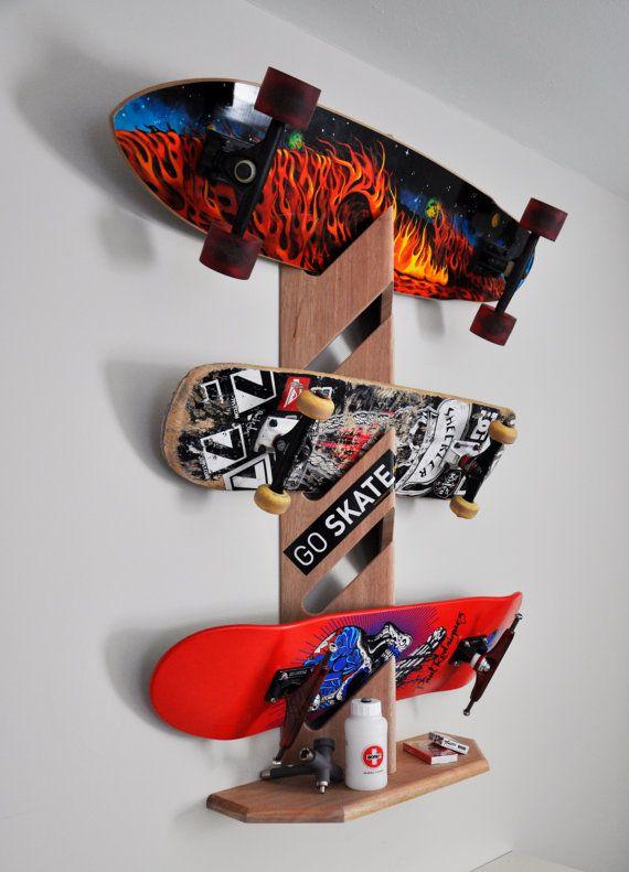 Skateboard Rack Cool skateboard rack by thwooddesign on Etsy, $45.00  thwooddesign.com