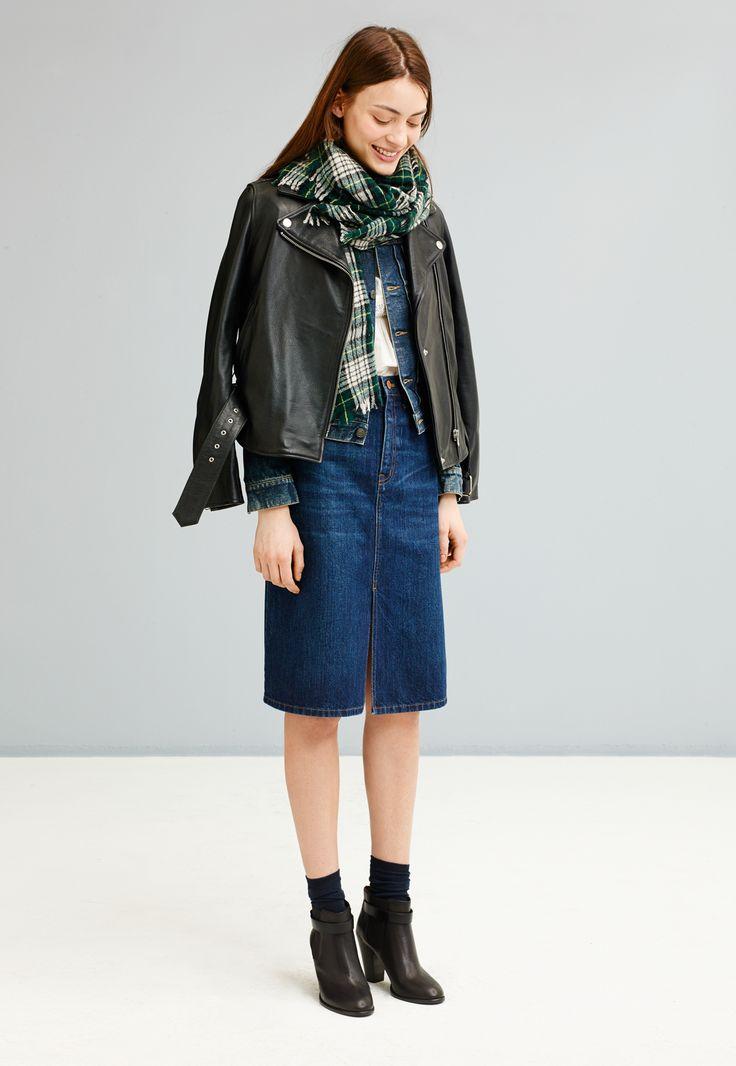 madewell ultimate leather jacket worn with denim midi