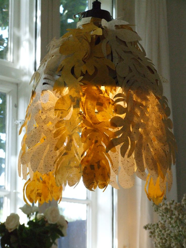 Unique lampshade designed and cut by Naja Abelsen, Denmark. Similar can be ordered.