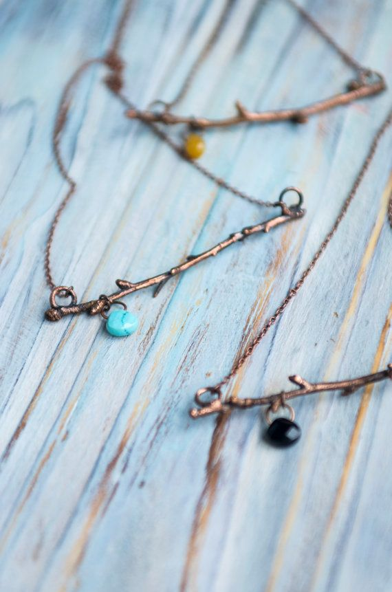 Tiny twig copper pendant, minimal pendant, bar pendant with gemstone, natural…                                                                                                                                                                                 More